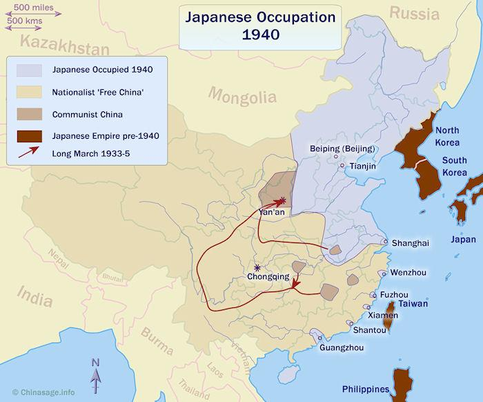 Map of China during Japanese Occupation