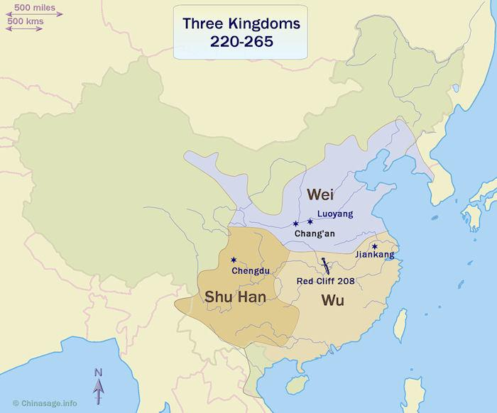 Map of China at the time of the Three Kingdoms